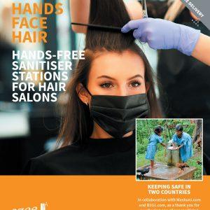 branded hand sanitiser station hair salon