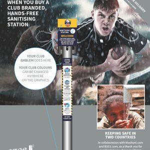branded hand sanitiser station Rugby club