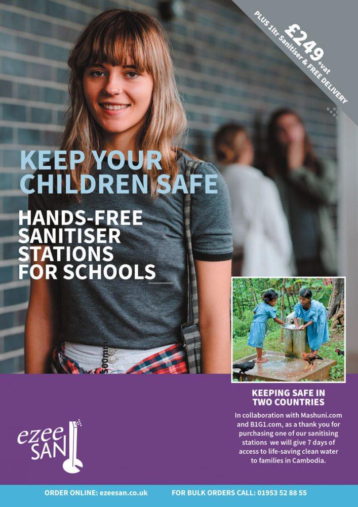 branded hand sanitiser station school